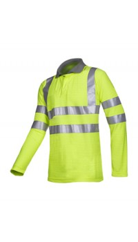 Flame retardant, anti-static hi-vis polo shirt