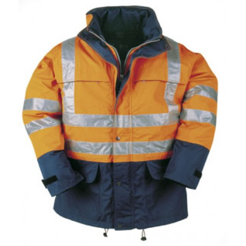 BRIGHTON Hi-vis rain jacket Orange and Navy