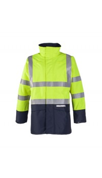 Flame retardant, anti-static hi-vis rain jacket Yellow/Navy
