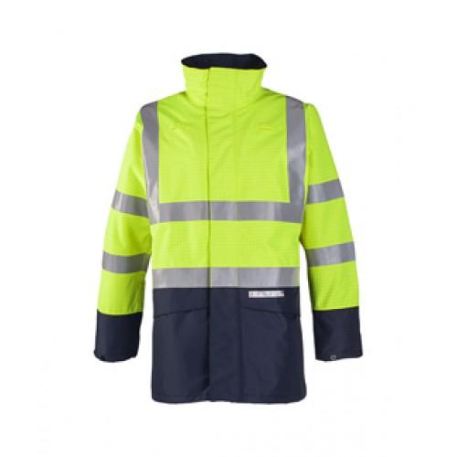Flame retardant, anti-static hi-vis rain jacket Yellow/Navy