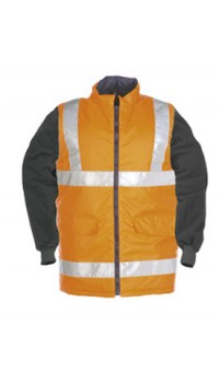 Hi-vis bodywarmer with detachable sleeves
