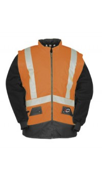 Hi-vis Bodywarmer with detachable sleeves Orange/Navy