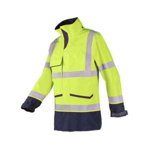 Flame retardant, anit-static hi-vis rain jacket