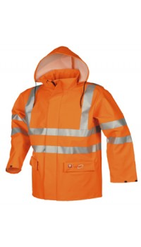 Flame retardant, anti-static hi-vis rain jacket