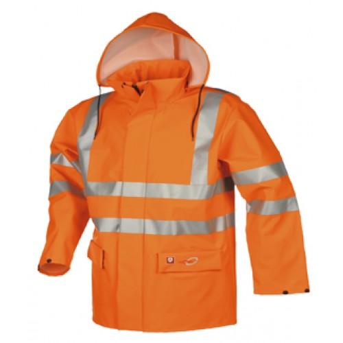 Flame retardant, anti-static hi-vis rain jacket