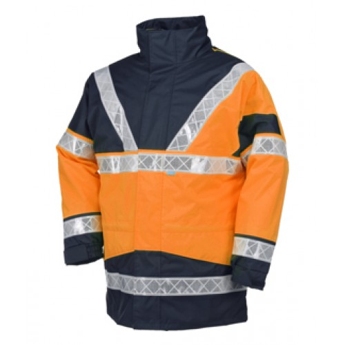 Hi-Vis Rain Jacket with Detachable Bodywarmer