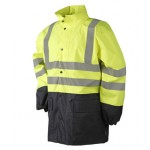 Hi-vis rainjacket Yellow and Navy